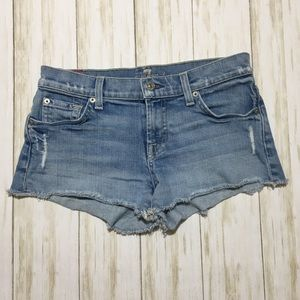 7 For All Mankind Distressed Cut Off Shorts 25